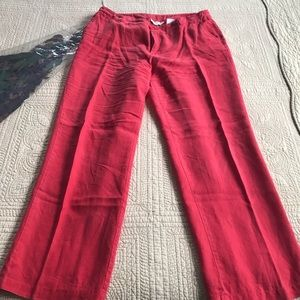Red linen pants